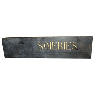 19th C. French Textile Shop Sign in Gilded Black Slate