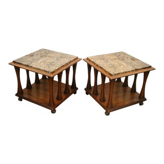 Ebonized Walnut Square Rolling Cocktail or Side Tables - Pair