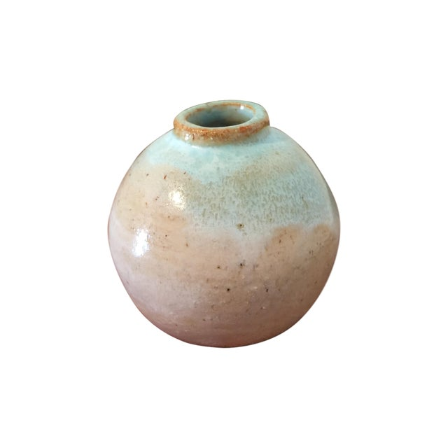 Vintage Turquoise Bud Vase, Marked - Image 1 of 5