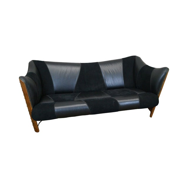 Vintage Brazilian Walnut & Black Leather Wing Sofa - Image 1 of 10