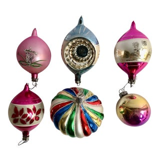 Vintage Glass Christmas Ornaments - Set of 6