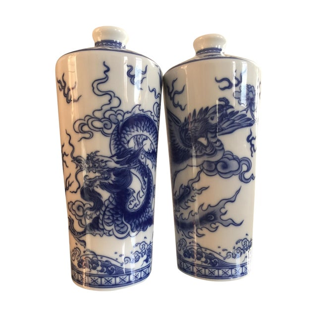 Blue and White Dragon Vases - Pair - Image 1 of 10