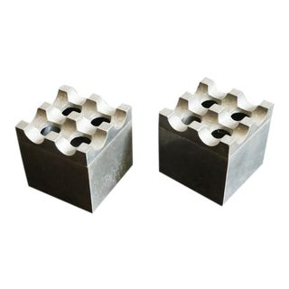 Small Ultima Aluminum Ashtrays - a Pair