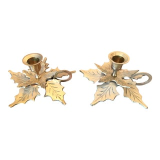 Brass Flowers Candlestick Holders - a Pair