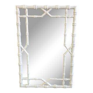 Vintage White Faux Bamboo Mirror