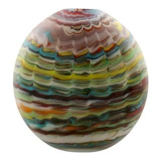 Missoni Designed Round Disk Shaped Murano Glass Vase
