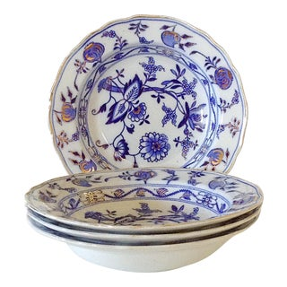 Blue & White English Soup Bowls - Set of 4