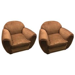 Art Deco Macassar Style Club Chairs - A Pair