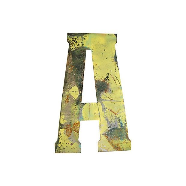 Large Yellow Metal Marquee Letter A - Image 2 of 2