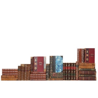 Antique Distressed Leather Books - Set of 35