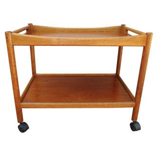 Hans Wegner Teak Bar Cart Andreas Tuck Danish Modern Bar Trolley