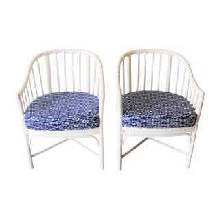 Vintage McGuire White Rattan Chairs - Pair