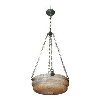 Contemporary round alabaster pendant