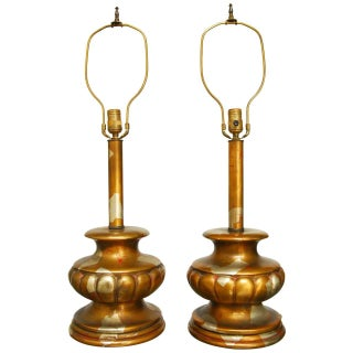 James Mont Camouflage Gilt Table Lamps - Pair