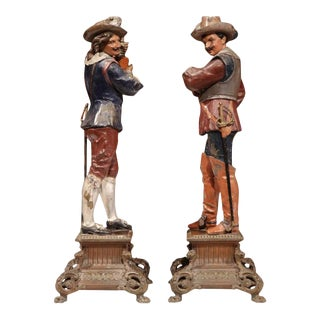 Hand-Painted Metal Musketeer Figurines - A Pair