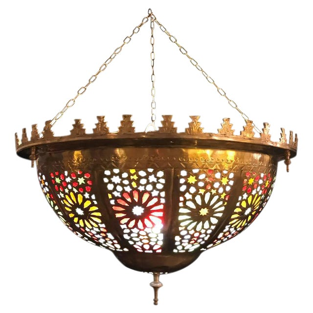 Tiffany Fashioned Hand-Hammered Brass and Colored Glass Light Fixture - Image 1 of 8