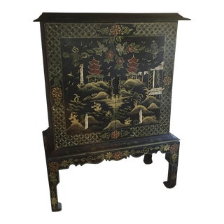 Ivory Antique Chinese Cabinet Hutch Chinoiserie