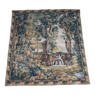 Vintage French Verdure Linen Tapestry