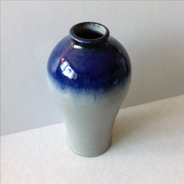 Studio Pottery Grey & Cobalt Blue Vase - Image 10 of 11