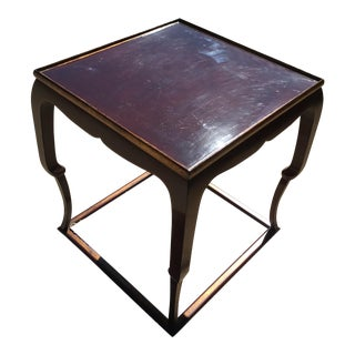 Piedouche Lacquer End Table with Grain De Café Gold Striping
