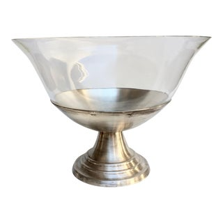 Blown Glass & Silver Plate Punch Bowl