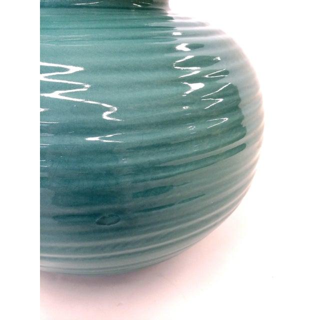 Image of Transitional Turquoise Ribbed Custom Lamp Base