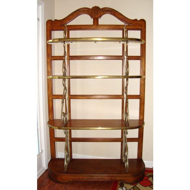 Vintage Brass Pecan Drexel Shelf - Image 2 of 8
