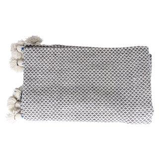 Gray Diamond Moroccan Pompom Blanket