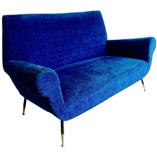 Mid-Century Gigi Radice Cobalt Love Seat