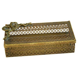 1950s Hollywood Glam Ormolu Filigree Tissue Box