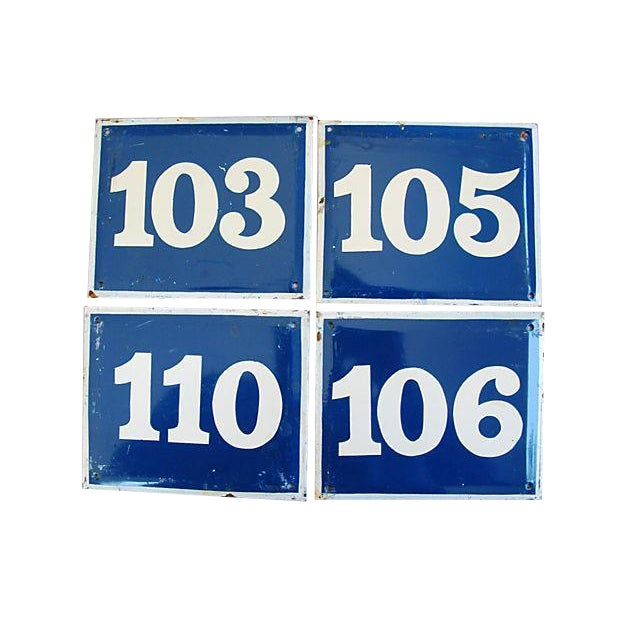 French Enameled Number Plaques - Set of 4 - Image 1 of 4
