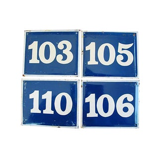 French Enameled Number Plaques - Set of 4