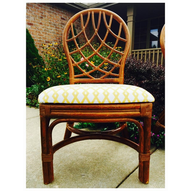 Vintage Lane Reupholstered Rattan Chairs - A Pair - Image 8 of 8