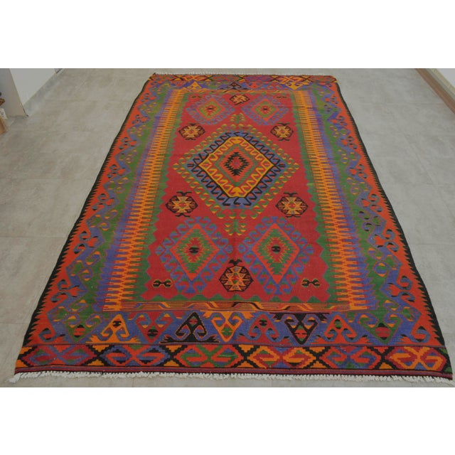 Turkish Kilim Rug Hand Woven Wool Kilim Area Rug