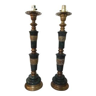 Marble & Brass Moroccan Lamps - A Pair