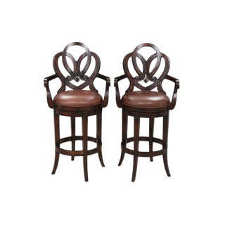 Antique Carved Bar Stools - A Pair