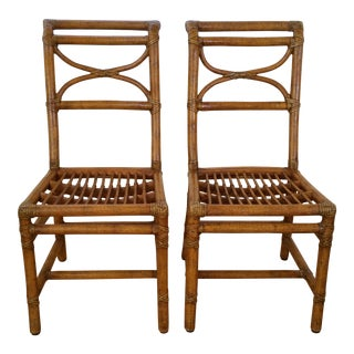 McGuire Rattan Dining Chairs - A Pair