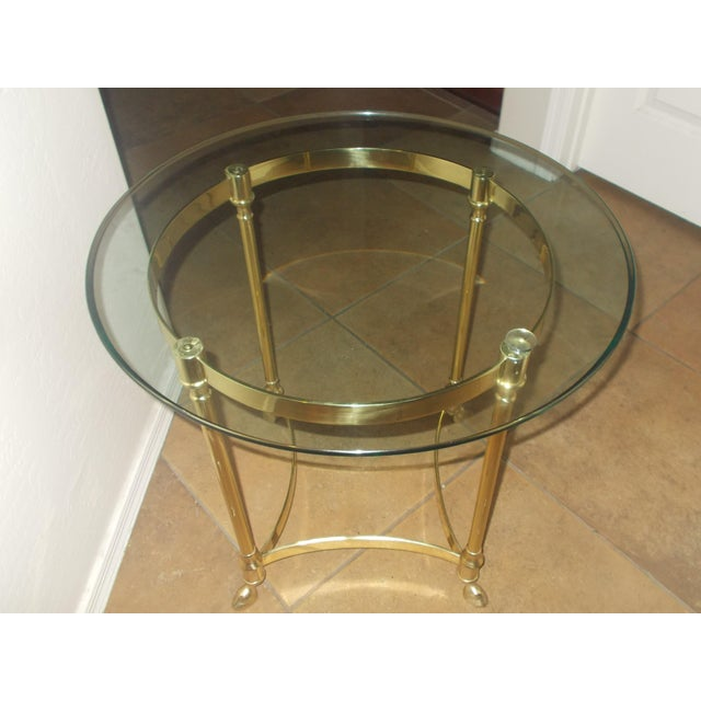 La Barge Glass & Brass End Table - A Pair - Image 3 of 5