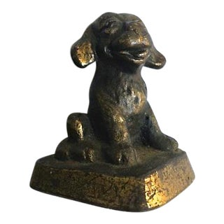 Bronze Laughing Puppy Paperweight