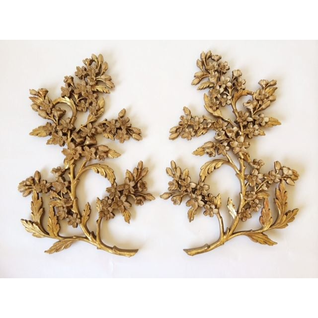 Hollywood regency gold floral branches wall decor chairish for Hollywood regency wall decor