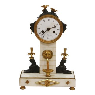 French Empire Egyptian Revival Clock Marked Gaston Jolly à Paris
