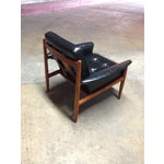 Image of Grete Jalk Teak & Leather Lounge Chairs - Pair
