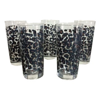 Nicole Miller Leopard Highball Glasses - Set of 5