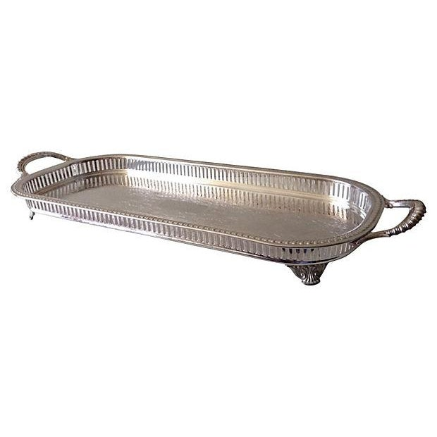 Silver Plate Reticulate Long Server Tray - Image 4 of 7