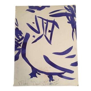"""Vintage Robert Cooke Original Ink """"Dancing Chicken"""" Drawing"""