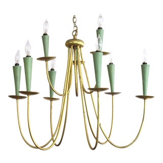 Chic Italian Gilt and Painted Metal Nine-Arm Chandelier
