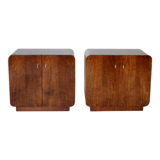 1970s Waterfall Walnut Cabinets by Thomasville - A Pair