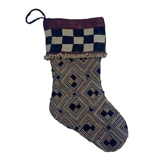 African Kuba Textile Christmas Stocking