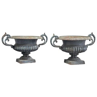 Pair of Antique Cast Iron French Urns