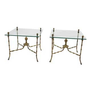 Hollywood Regency Faux Bamboo Glass End Tables - A Pair
